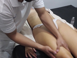 I fellow-feeling a amour the masseur wanting in a condom and he finishes off inside