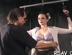 Hot babe in astonishing sadomasochism scenes with ropes and clothespins