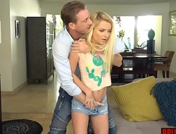 Unfavourable stepdaughter teen chew out fucked by stepdad