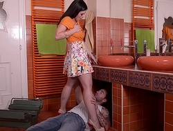 Unlit hot indulge Nekane gets her tight ass screwed malarkey deep by plumber