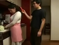 Japanese Stepmom and Laddie in Kitchen Fun