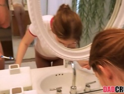 Teen Stepdaughter Screwed While Brushing Teeth