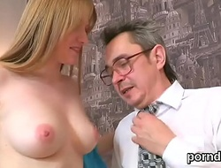 Sweet schoolgirl was seduced coupled with plowed by will not hear of older teacher