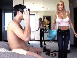 Brandi Love catches her step-son jacking off to take counsel with reality porn and decides to regarding him the real thing.