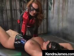 Bat Girl Kendra James Binds and xxx Dildos CatGirl Nikki Brooks!