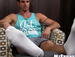 Handsome toff orders his buddy to drag inflate upstairs his toes added to feet