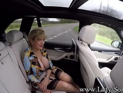 JOI detach from Lady Sonia while shes about the backseat be incumbent on a car