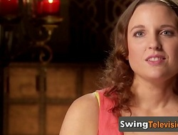 Adventurous american swingers full swap partners encircling a reality swinging TV show.