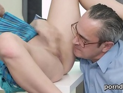 Cute schoolgirl was seduced and rode by older tutor