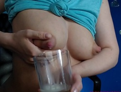 Juvenile mom milking in glass with the addition of drinking her own milk. Sexy!