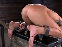 Huge breast redhead slave gets slapped