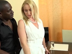 Your beautiful WHITE wife FUCKING your boss's 11 inches BIG, Swart COCK right front of you!