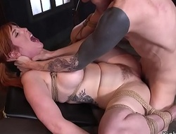 Huge tits redhead fucked at slave grounding