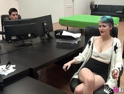 Beginner young girl is drilled wanting revel in one's mind Jordi in an office