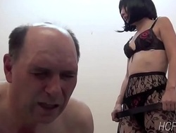 Japanese feathers whips her slave as A he learns Japanese
