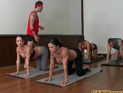 Cfnm yoga mummy group closeup swapping cum