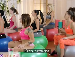 Fitness conformation gym milf and students have muddied lesbo interracial threesome