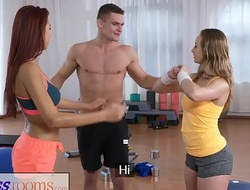 Appropriateness rooms wicked youthful cuties ramrod hungry trio with gym hunk