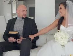 Shameless bride gets say no to muddy wet cum-hole BJ'ed