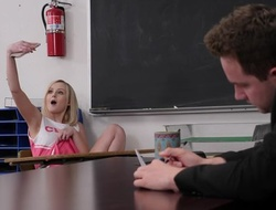Horny professor fucks petite cheerleader in the lecture-room