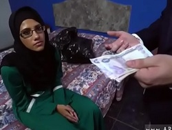 Arab Hijab Cash-drawer Fucked for Money by 2 Strangers increased by Gave Oral-sex