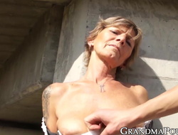Lusty grandma teased by younger supplicant vanguard giving oral-service