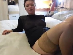 Heavy German Mummy secretly wanks with dirty speak