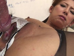 Japanese slot neonate gets screwed immutable through the hole give her panties